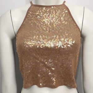 Express Gold Sequined Crop Top Small